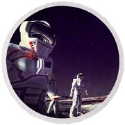 Round Beach Towel featuring the digital art Moon Walk by Methune Hively