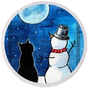 Moon Watching With Snowman - Christmas Cat Round Beach Towel