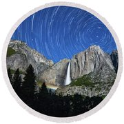 Moonbow And Startrails  Round Beach Towel
