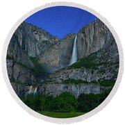 Moonbow Yosemite Falls Round Beach Towel