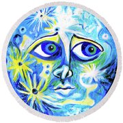 Moonface With Craters Round Beach Towel