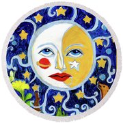 Round Beach Towel featuring the painting Moonface With Wolf And Stars by Genevieve Esson