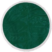 Moonfish Drawing Negative Green Chalk Round Beach Towel
