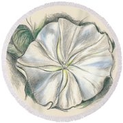 Moonflower Mixed Media Drawing Round Beach Towel