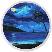 Round Beach Towel featuring the painting Moonligh Sail by Darice Machel McGuire