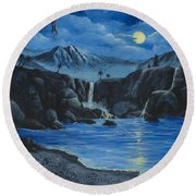 Round Beach Towel featuring the painting Moonlight And Waterfalls by Darice Machel McGuire