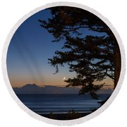 Moonlight At The Beach Round Beach Towel
