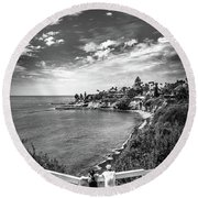 Round Beach Towel featuring the photograph Moonlight Cove Overlook by T Brian Jones