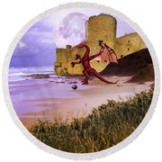 Moonlight Dragon Attack Round Beach Towel by Diane Schuster