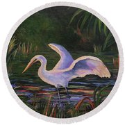 Moonlight Egret Round Beach Towel