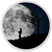 Round Beach Towel featuring the photograph Moonlight Fishing Under The Supermoon At Night by Justin Kelefas