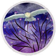 Round Beach Towel featuring the digital art Moonlight Hunt by Iowan Stone-Flowers