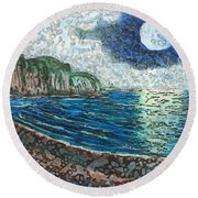 Moonlight In Pourvill Round Beach Towel