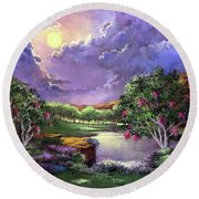 Moonlight In The Woods Round Beach Towel