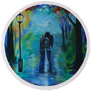 Round Beach Towel featuring the painting Moonlight Kiss by Leslie Allen