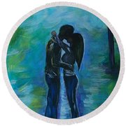 Round Beach Towel featuring the painting Moonlight Kiss Series 1 by Leslie Allen
