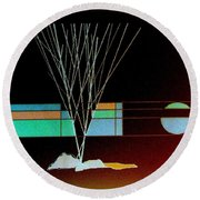 Round Beach Towel featuring the painting Moonlight Memories by Bill OConnor