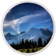 Moonlight On Mt Rainier Round Beach Towel by Rob Green
