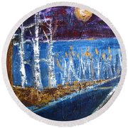 Round Beach Towel featuring the painting Moonlight On Path To Beach by Betty Pieper