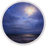 Moonlight On The Ocean At Hatteras Round Beach Towel