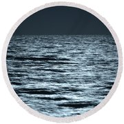 Moonlight On The Ocean Round Beach Towel by Nancy Landry