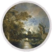 Moonlight On The Yare Round Beach Towel