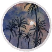 Moonlight Over Key West Round Beach Towel