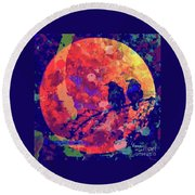 Moonlight Ravens Round Beach Towel by Linda Weinstock