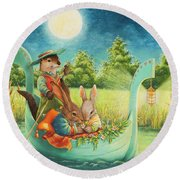 Moonlight Romance Round Beach Towel