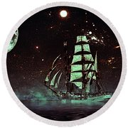 Moonlight Sailing Round Beach Towel