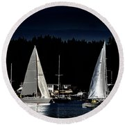 Round Beach Towel featuring the photograph Moonlight Sailing by David Patterson