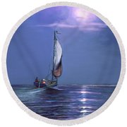 Round Beach Towel featuring the painting Moonlight Sailing by David  Van Hulst