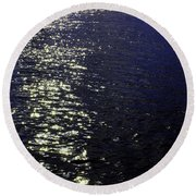 Moonlight Sparkles On The Sea Round Beach Towel