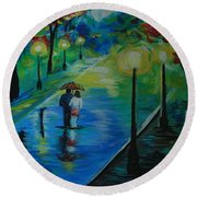 Round Beach Towel featuring the painting Moonlight Stroll by Leslie Allen