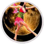 Moonlight Stroll Of A Fairy Round Beach Towel
