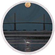 Moonlight Stroll Round Beach Towel by Steven Sparks