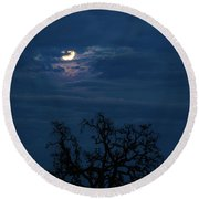 Moonlight Through A Blue Evening Sky Round Beach Towel