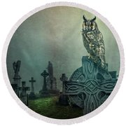 Round Beach Towel featuring the photograph Moonlight Vigil by Brian Tarr