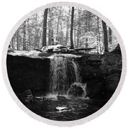 Moonlight Waterfall Round Beach Towel