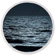 Moonlight Waves Round Beach Towel by Nancy Landry