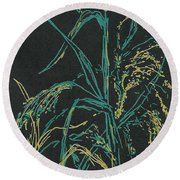 Round Beach Towel featuring the mixed media Moonlight Wheat by Vicki  Housel