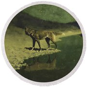 Moonlight, Wolf Round Beach Towel