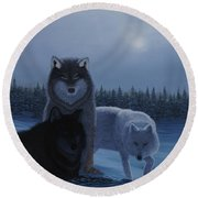 Moonlight Wolves Round Beach Towel