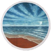 Moonlit Beach Round Beach Towel