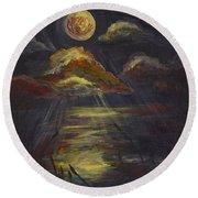 Moonlit Beach Guam Round Beach Towel