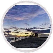 Moonlit Beach Sunset Seascape 0272b1 Round Beach Towel