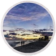 Moonlit Beach Sunset Seascape 0272b1 Round Beach Towel