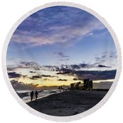 Moonlit Beach Sunset Seascape 0272c Round Beach Towel