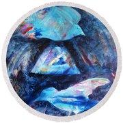 Moonlit Birds Round Beach Towel by Denise Hoag