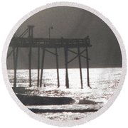 Moonlit Carolina Night Round Beach Towel by Belinda Lee
